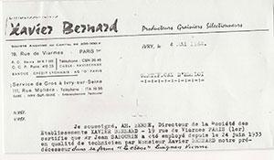 Papier à entête de l'entreprise de Xavier Bernard